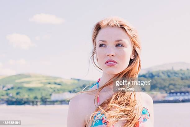 Attractive young red haired woman portrait
