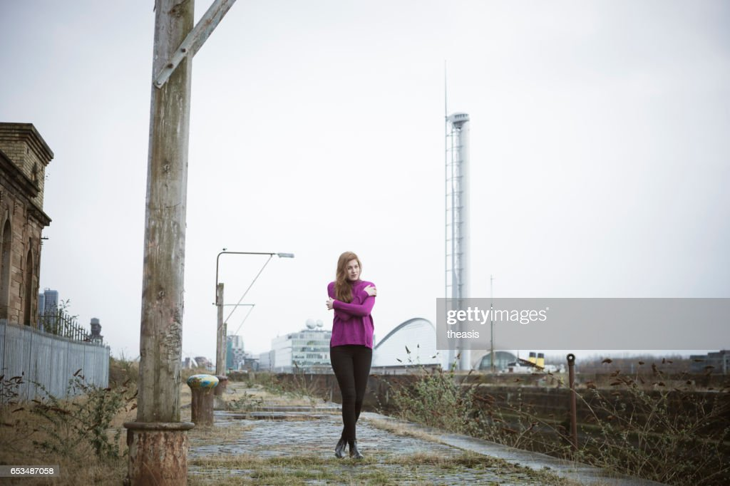 Attractive Young Woman At Derelict Glasgow Docks : Stock Photo