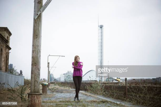 Attractive Young Woman At Derelict Glasgow Docks
