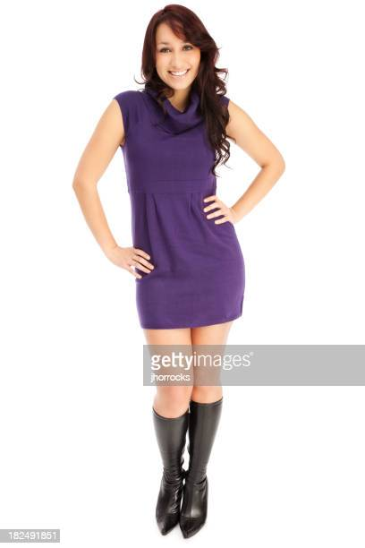 Attractive Young Woman in Purple Sweater Dress