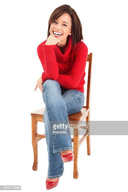 Attractive Young Woman in Red Sweater