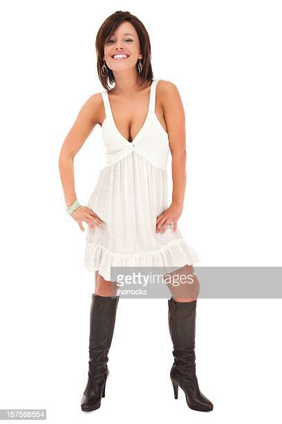 Attractive Young Woman in Stylish White Dress