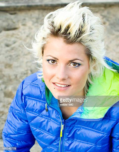attractive young woman portrait - bleached hair stock photos and pictures