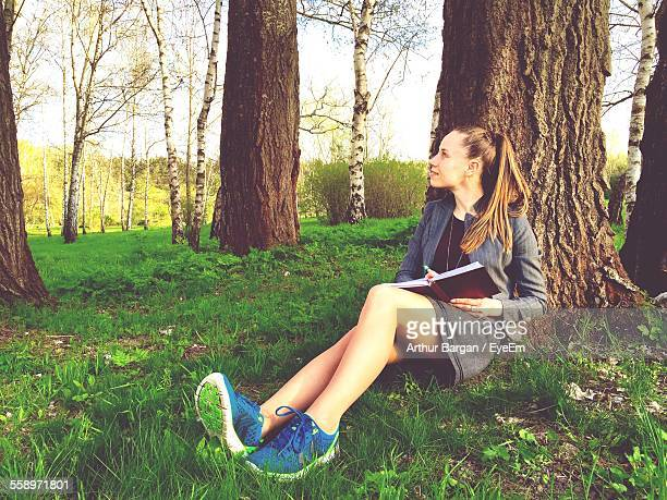 attractive young woman siting under tree with book - under the skirt stock photos and pictures