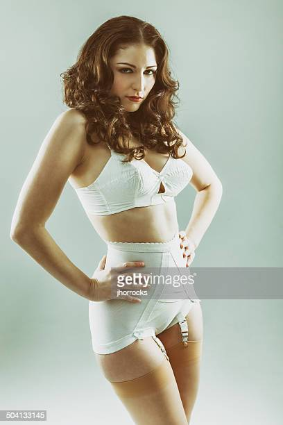 Attractive Young Woman Wearing Vintage Underwear