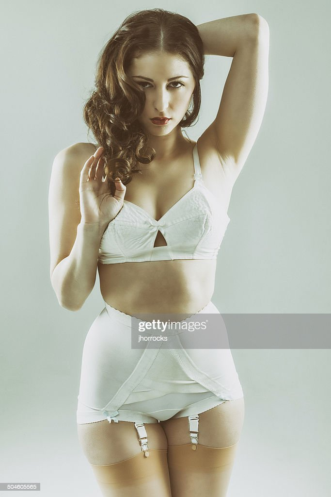 8a41e21eff7 Attractive Young Woman Wearing Vintage Underwear Stock Photo - Getty ...