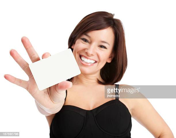 Attractive Young Woman with Blank Credit Card