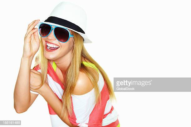 Attractive young woman with sunglasses and shirt