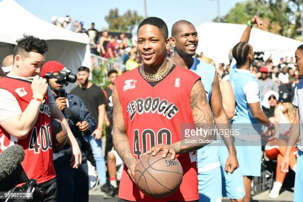 YG atttends his first annual Daytime Boogie Basketball Tournament at The Shrine Auditorium on February 17 2018 in Los Angeles California