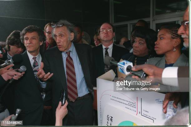 Atty William Kunstler speaks at a press conference outside of the Minneapolis Federal Building following the decision in the Shabazz case Betty and...