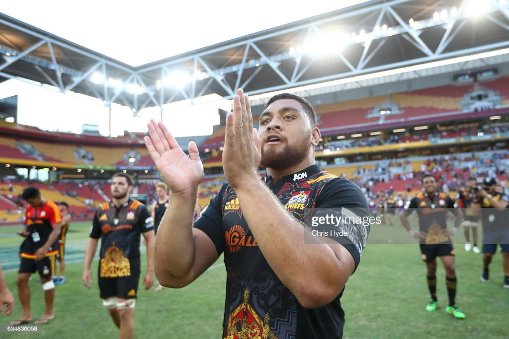 Atunaisa Moli of the Chiefs celebrates winning the Rugby Global Tens Final match between Chiefs and Crusaders at Suncorp Stadium on February 12, 2017 in Brisbane, Australia.