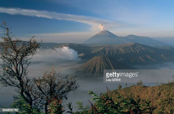 Au fond, le volcan Semeru et son panache de fum?e.