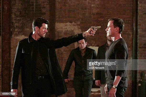 "Au Revoir"" Episode 606 -- Pictured: Gavin Lee as Woodford, Ross McCall as Matthew Keller, Tim DeKay as Peter Burke --"