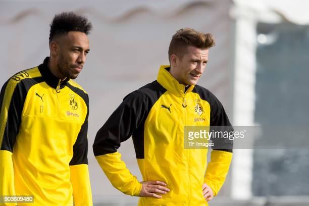 Auba PierreEmerick Aubameyang of Dortmund and Marco Reus of Dortmund look on during the Borussia Dortmund training camp at Marbella Football Center...