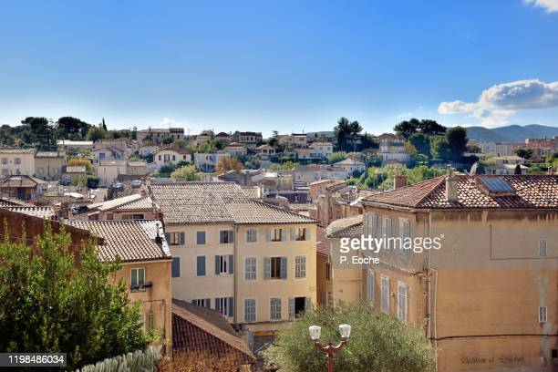 aubagne, the old historic town seen from the clock tower - オーバーニュ ストックフォトと画像