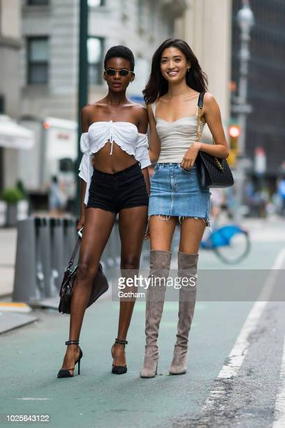 Aube Jolicoeur and Aqua Parios attend casting for the 2018 Victoria's Secret Fashion Show in Midtown on August 31 2018 in New York City