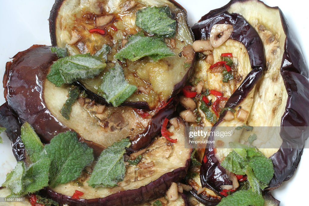 aubergine with mint : Stock Photo