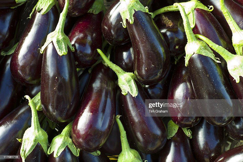 Eggplant Aubergines at Food Market, France : News Photo