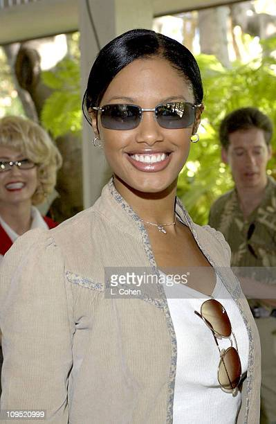 K D Aubert visits Kenneth Cole sunglasses at the Cabana Beauty Buffet presented with Allure magazine