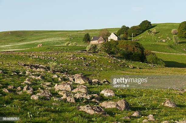 aubrac plateau landscape - planalto - fotografias e filmes do acervo