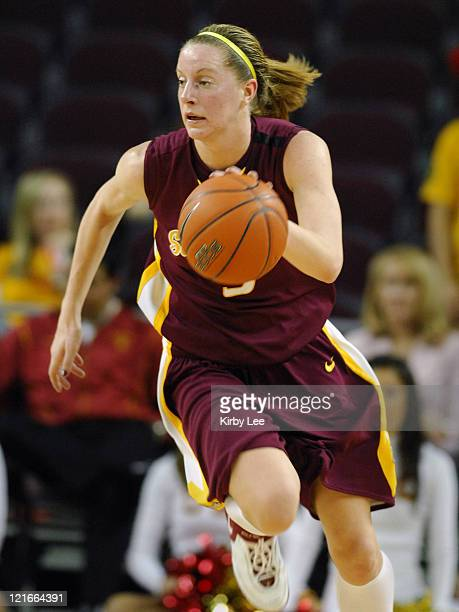 Aubree Johnson of Arizona State dribbles upcourt during 6857 victory over USC in Pacific10 Conference women's basketball game at the Galen Center in...