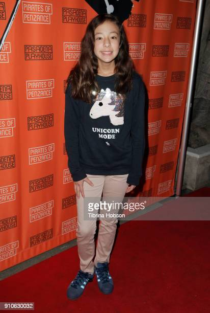 Aubrey AndersonEmmons attends the opening night of Gilbert and Sullivan's 'Pirates Of Penzance' at Pasadena Playhouse on January 25 2018 in Pasadena...