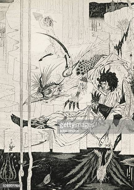 Aubrey Beardsley drawing to illustrate Le Morte d'Arthur by Thomas Malory Ca 1893