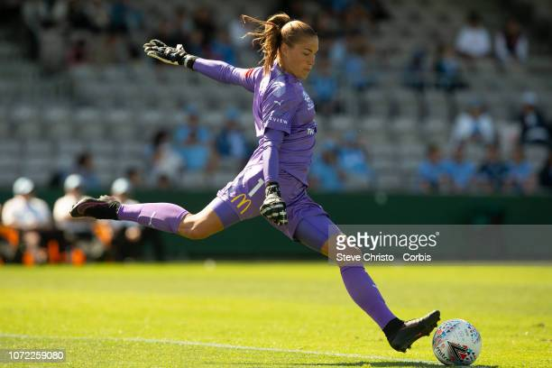 Aubrey Bledsoe of Sydney FC clears the ball during the round four W-League match between Sydney FC and the Melbourne Victory at WIN Jubilee Stadium...