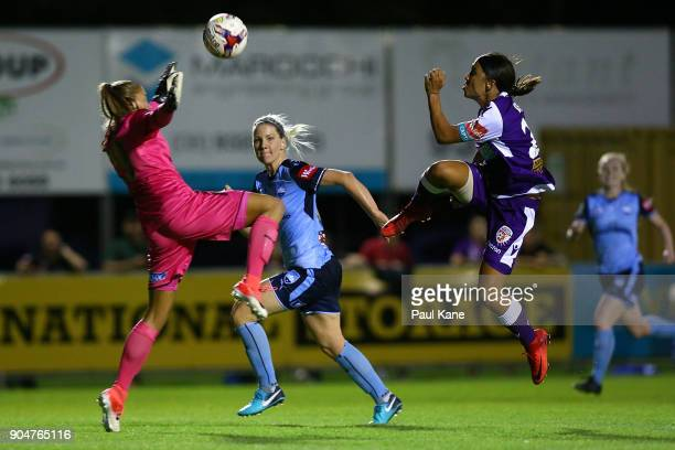 Aubrey Bledsoe of Sydney saves a shot on goal by Samantha Kerr of the Perth Glory during the round 11 WLeague match between the Perth Glory and...
