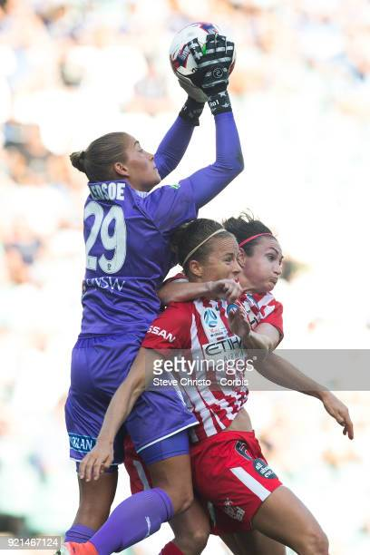 Aubrey Bledsoe of the Sydney FC jumps for the ball over City's Aivi Luik and Jodie Taylor during the WLeague Grand Final match between the Sydney FC...