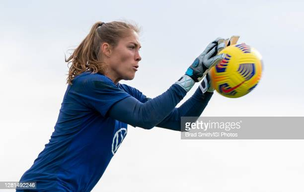 Aubrey Bledsoe of the USWNT makes a save during a training session at Dick's Sporting Goods Park training fields on October 20 2020 in Commerce City...