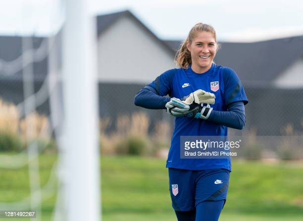Aubrey Bledsoe of the USWNT steps into the box during a training session at Dick's Sporting Goods Park training fields on October 20 2020 in Commerce...