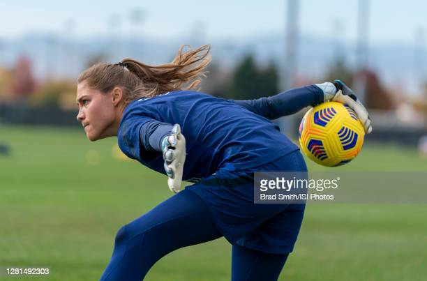 Aubrey Bledsoe of the USWNT throws the ball during a training session at Dick's Sporting Goods Park training fields on October 20 2020 in Commerce...