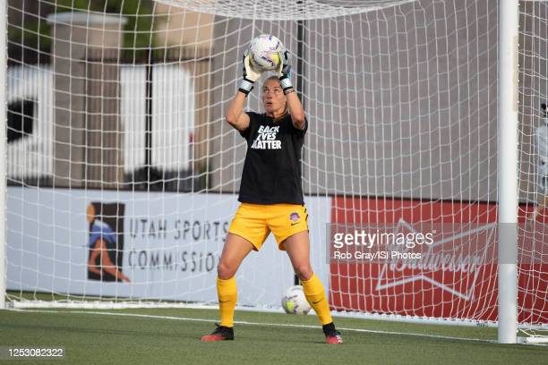 Aubrey Bledsoe of Washington Spirit warm up during a game between Washington Spirit and Chicago Red Stars at Zions Bank Stadium on June 27, 2020 in...
