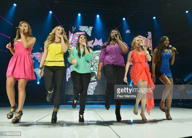 Aubrey Cleland Angie Miller Kree Harrison Candice Glover Janelle Arthur and Amber Holcomb perform during American Idol Live 2013 at Agganis Arena at...