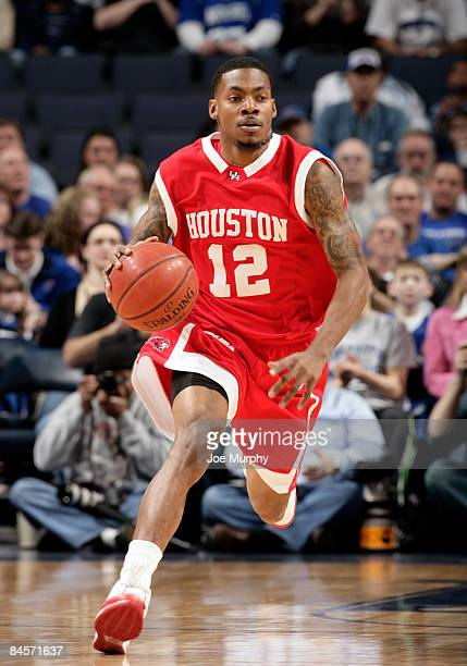 Aubrey Coleman of the Houston Cougars brings the ball upcourt against the Memphis Tigers at FedExForum on January 31 2009 in Memphis Tennessee...