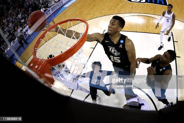 Aubrey Dawkins of the UCF Knights looks to tipin the ball against the Duke Blue Devils during the second half in the second round game of the 2019...