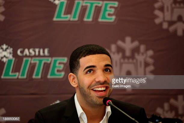 Aubrey Drake Graham aka Drake addresses a press conference on December 9 2011 in Johannesburg South Africa Drake appeared alongside Lil Wayne in...