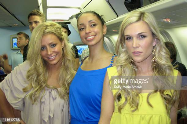 Aubrey from Danity Kane Mya and Tinsley Mortimer during Life Ball 2007 Plane and Red Carpet at Austrian Airlines and Airport in Vienna Austria
