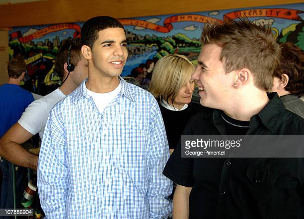 Aubrey Graham and Shane Kippel during Degrassi The Next Generation Celebrates 100th Episode at Degrassi High School Set in Toronto Ontario Canada
