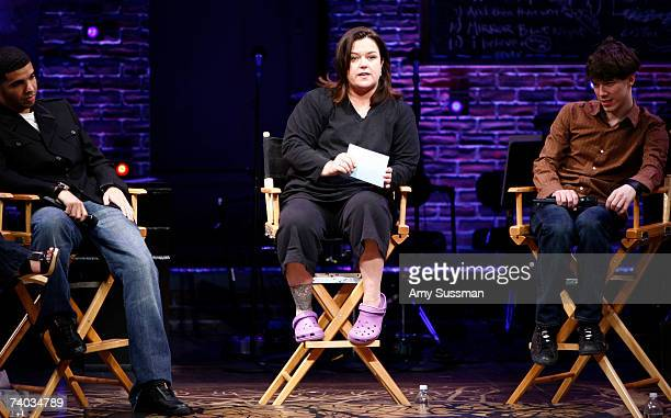 Aubrey Graham Rosie O'Donnell and John Gallagher Jr speak at the Spring Awakening and Degrassi panel discussion with Rosie O'Donnell at the Eugene...