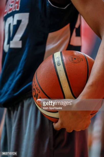 Aubrey Griffin of Ossining NY holds the basketball while participating in tryouts for the 2018 USA Basketball Women's U17 World Cup Team at the...