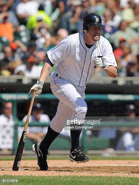 Aubrey Huff of the Detroit Tigers bats against the Cleveland Indians during the game at Comerica Park on September 3 2009 in Detroit Michigan The...