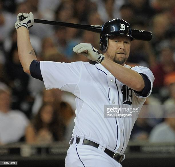 Aubrey Huff of the Detroit Tigers bats against the Kansas City Royals during the game at Comerica Park on September 15 2009 in Detroit Michigan The...