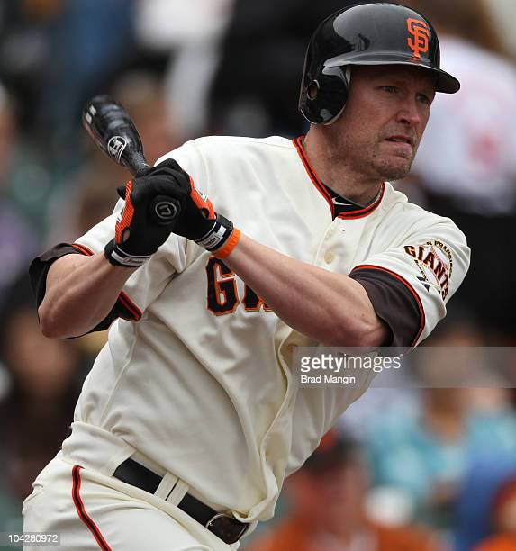 Aubrey Huff of the San Francisco Giants bats against the Milwaukee Brewers during the game at ATT Park on September 19 2010 in San Francisco...