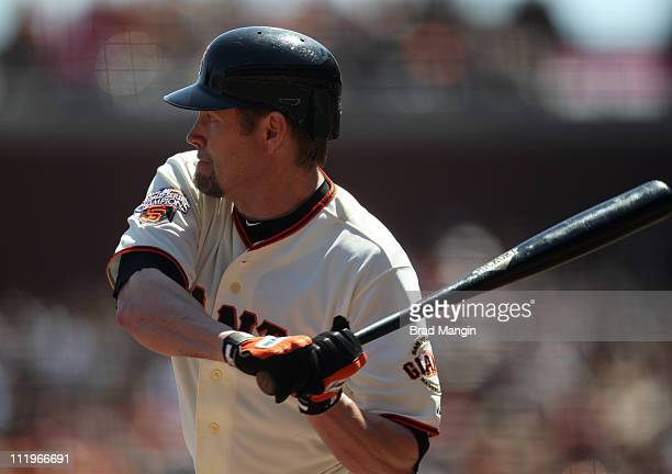 Aubrey Huff of the San Francisco Giants bats against the St Louis Cardinals during the game at ATT Park on April 10 2011 in San Francisco California