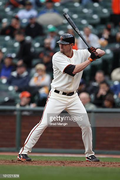 Aubrey Huff of the San Francisco Giants bats against the Washington Nationals during the game at ATT Park on May 27 2010 in San Francisco California