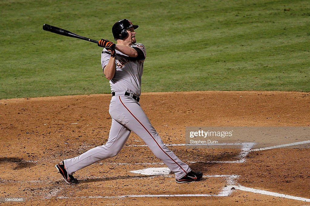Aubrey Huff #17 of the San Francisco Giants hits a 2-run home run in the top of the third inning against the Texas Rangers in Game Four of the 2010 MLB World Series at Rangers Ballpark in Arlington on October 31, 2010 in Arlington, Texas.
