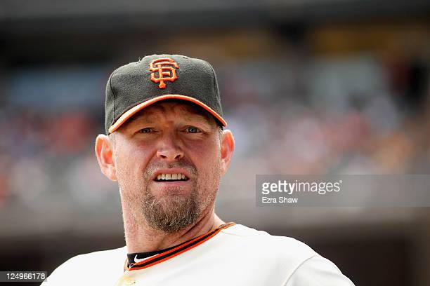 Aubrey Huff of the San Francisco Giants stands in the dugout during their game against the Arizona Diamondbacks at ATT Park on September 4 2011 in...