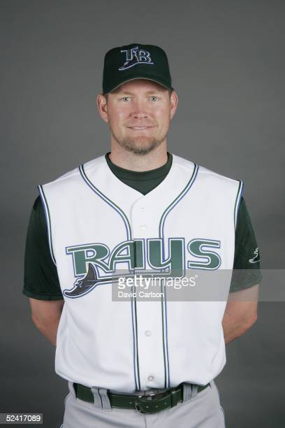 Aubrey Huff of the Tampa Bay Devil Rays poses for a portrait during photo day at Progress Energy Park on March 1 2005 in St Petersburg Florida